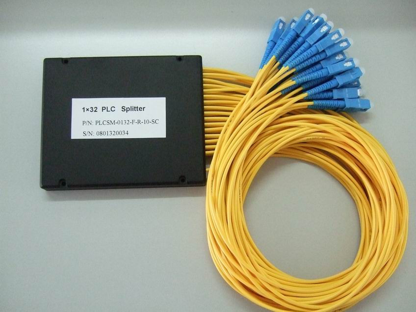 1x32 Fiber Optic PLC Splitter, Splice/Pigtailed ABS Module, 2.0mm, SC/UPC Connector
