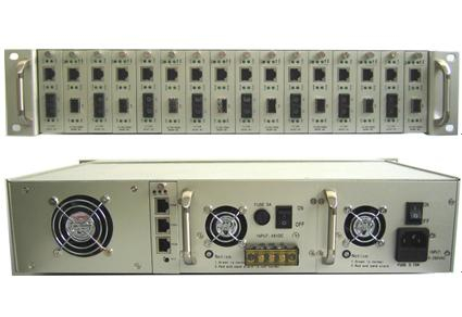 2.5U 16 Slots 10/100M and 10/100/1000M card type Snmp Managed Fiber Media Converter Rack Chassis