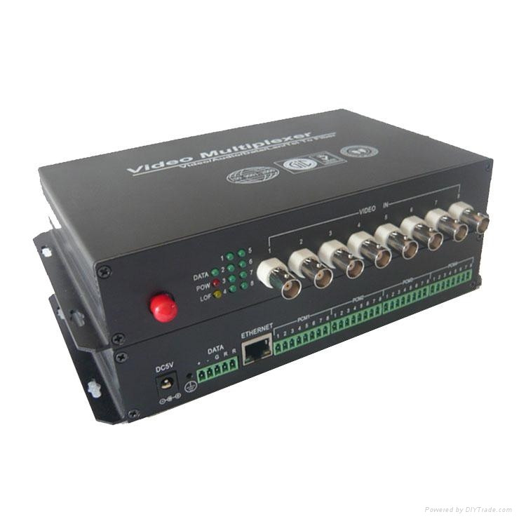 8 Channel Video & 1 Return Data & 1 Forward Audio to Fiber SM 20km Optic Video Multiplexer