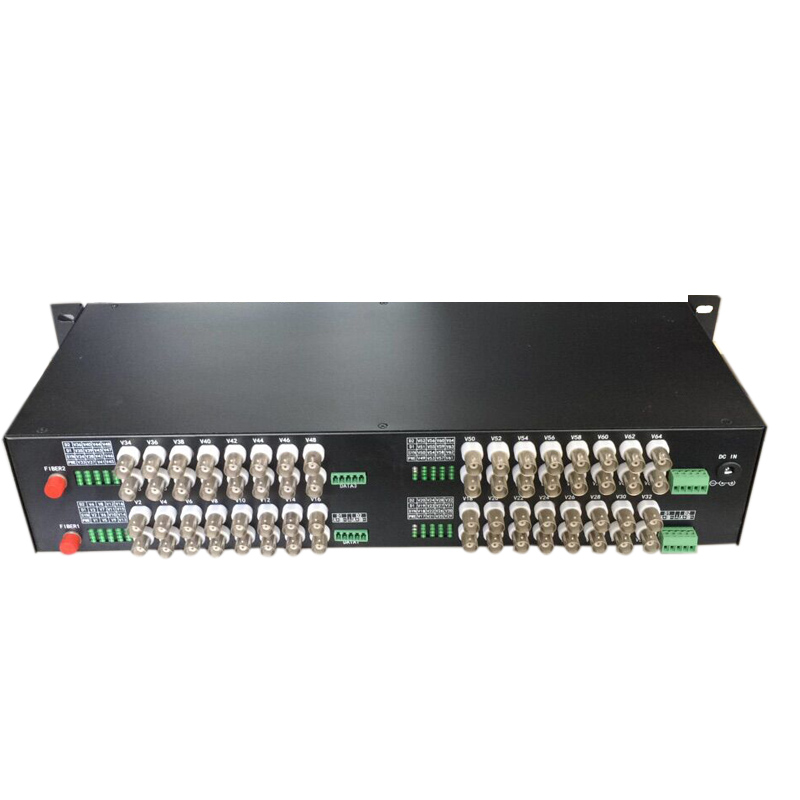 64 Channel Video & 1 Return Data to Fiber SM 20km Optic Video Multiplexer