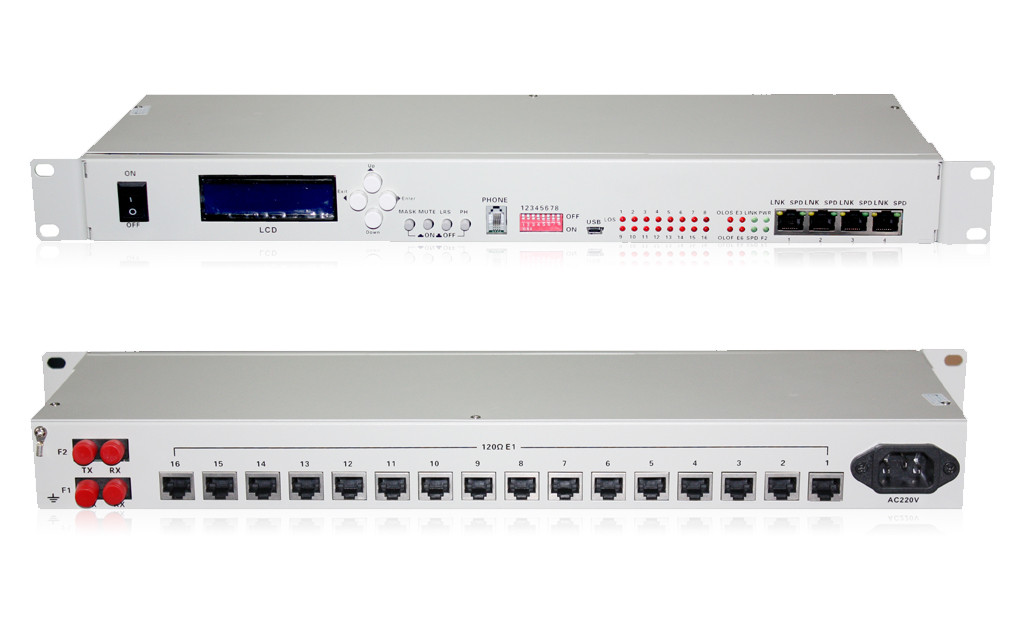 16E1+4*10/100M PDH Fiber Optical Multiplexers Singlemode Dual Fiber 20KM 19 Inch Rack(with the orderwire phone)