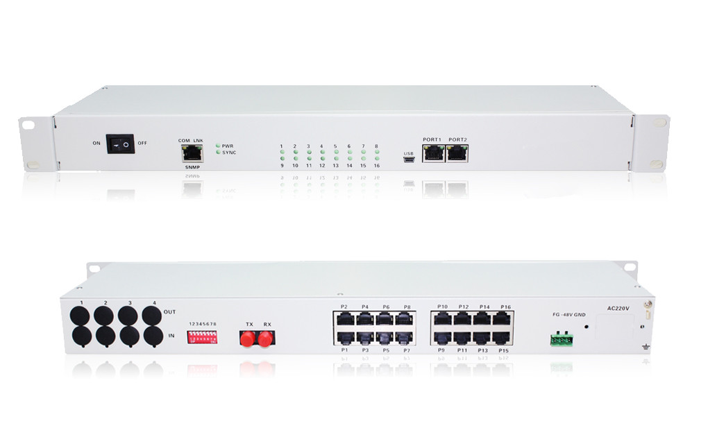 16FXO/FXS PCM Voice Multiplexer Over Optical Fiber