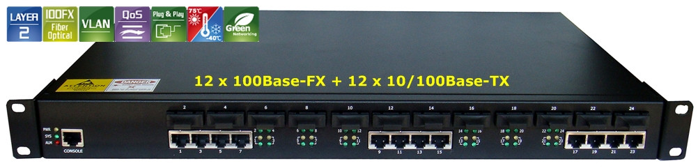 12 Fiber Port &12 UTP lan port  Fiber optic ethernet switch ,Fiber Media Converter