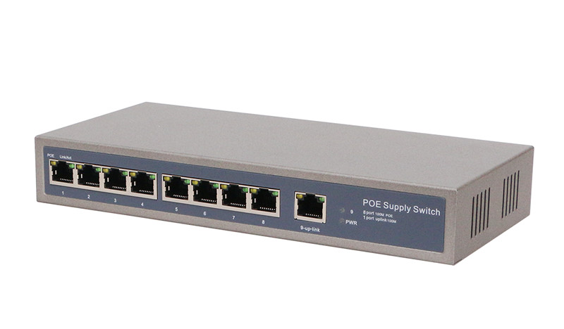 9 Port FE/Gigabit POE Power Supply Switch